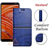 Marshland Leather Inside Soft Silicon Case Kickstand Wallet Design Full Protection Stylish Flip Cover for Nokia 3.1 Plus (Blue)