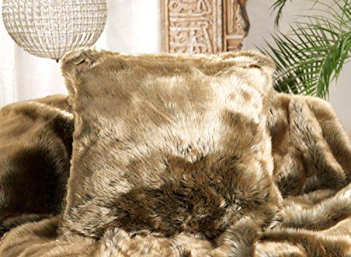 Wohnen & Accessoires Kuscheldecke Zobel Gold-braun - Felldecke in Edler Premium-Qualität, 150x200-260x300cm, auch als Kissen und Wärmflasche (Fellkissen 45x45cm)