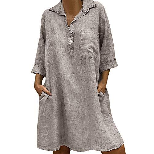 MERICAL Solides Kleid für Damen, Boho-Turn-Down-Kragen, lässiges Kleid mit Knopfleiste(Khaki,X-Large)