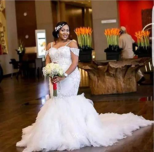 Jyl, abito da sposa per damigella d'onore, con una spalla, lunghezza del pavimento, a coda di pesce, pure white, us:8 (xl)
