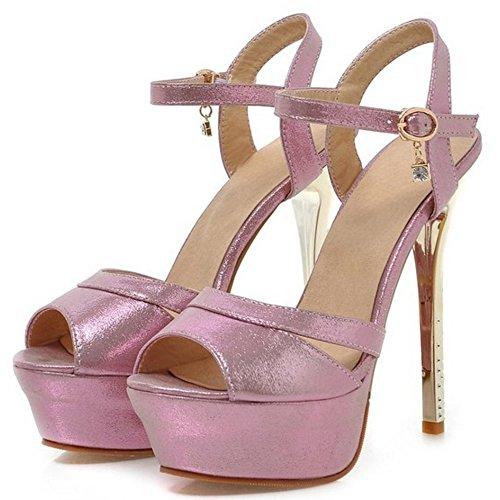 TAOFFEN Elegant Femmes Aiguille Sandales Talons Hauts Plateforme Peep Toe Chaussures De Mariage Rose
