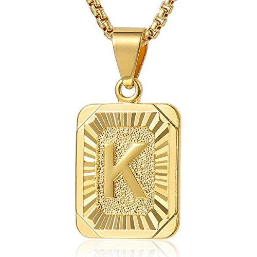Trendsmax Herren Damen Ketten Platz Buchstabe A-Z Anhänger Halskette Gold gefüllte Box (Männer Gold Gefüllt Kette)