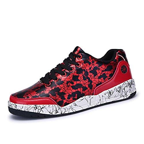 Uomo Moda Scarpe sportive Ballerine Camuffare formatori Scarpe casual Antiscivolo traspirante Scarpe da diporto euro DIMENSIONE 39-44 Red