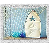 HYDDAXJW Arazzo di Arredamento Nautico, Oggetti Marini su Legno con Foto d'Epoca di Conchiglie di Stelle Marine da Barca, Arazzo da Appendere A Parete, W150Xh150Cm