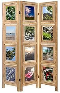 Paravent en bois nature porte-photos de 3 pans, H160 x L109 x P2 cm -PEGANE-