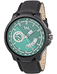 Watch Me Day And Date Watches For Mens Stylish Analog Green Dial Black Leather Strap Quartz Watch For Men And...