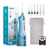Irrigatore Orale TURATA Water Flosser Cordless Pulitore Elettronico Portatile per Denti Impermeabile, 3 Modalità e 4 Ugelli Jet con Pressione Dell'acqua più alta