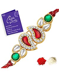 Sukkhi Lavish Kundan Rakhi with Roli Chawal and Raksha Bandhan Greeting Card for Men