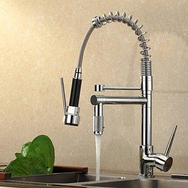 Küchenarmaturen Küchenarmatur Zeitgenössisch Vorspülung/Mit ausziehbarer Brause Messing Chrom