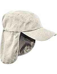 MENS LEGIONNAIRES HAT 100% cotton Sand natural sun safe bush cap Gents wide and long neck cover hiking