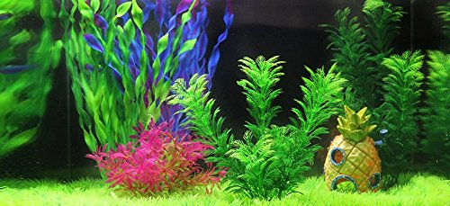 iNeith Fish Tank Plant Water Grass Aquarium Artificial Plastic Colorful Decor Ornament Decoration Submarine Pack of 5 5
