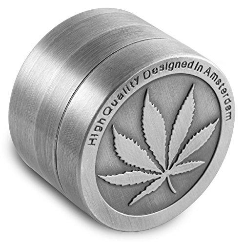 Für Tabakblätter, Zinklegierung, 40 mm, 4-teilig, mit Pollenfänger, inkl. Schaber -