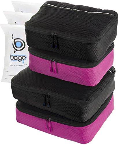 4Pz Bago Cubi Di Imballaggio - Set per Viaggi (2Black+2Pink)+ 6Pz Sacchetti Organizzatori per i bagagli