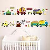 WandSticker4U- Wandtattoo Fahrzeuge für Kinderzimmer | Wandbild: 130x50 cm | Wandaufkleber Fototapete Transporte Auto Sticker Bagger Baustelle | Wandsticker Deko Babyzimmer Junge