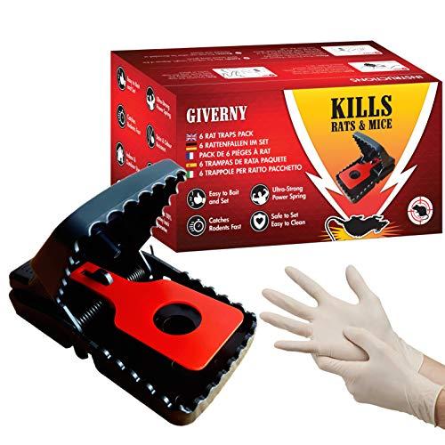 GIVERNY Rattenfalle & Mausefalle (6er-Set) Leistungsstark, einfach zu bedienen, effizient, schnell tötend - Bonus Latex-Handschuhe für optimale Sicherheit und Sauberkeit - ()