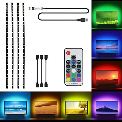LED Tira USB Para TV, OriFiil 2M Retroiluminación LED Impermeable 5050 Colores RGB Controlador para HDTV Televisores de 40 a 60, Oficina, Espejo, Computadora, etc.(78.7in/2m. en 4 bandas)