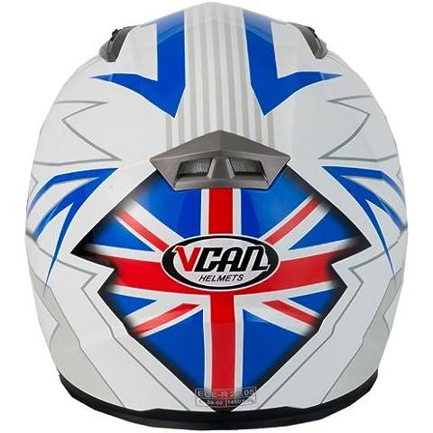 Vcan V158Reino Unido gráfico casco de moto, azul, extra-large