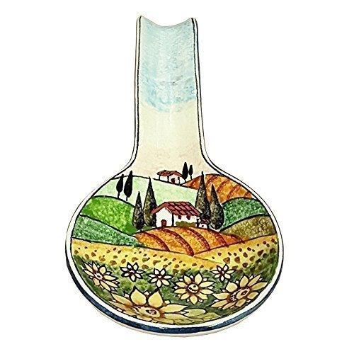CERAMICHE D'ARTE PARRINI- Ceramica italiana artistica , posamestolo decorazione paesaggio