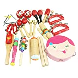 DEHANG 16 Piece Wooden Roll Drum Musical Toy Instruments Kit for Kids Children and Baby Gift Set - P