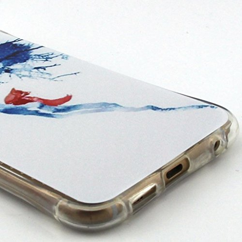 Uming® Crashsichere Crashproof Serie Bunte Muster Druck Zeichnung weichen TPU Fall Abdeckung Hülle ( Snow Girl - für IPhone 5S 5 5G SE IPhone5S IPhoneSE ) Airbag Blase Tropfen Beweis Sturzerkennungs S Blue Tree red fox