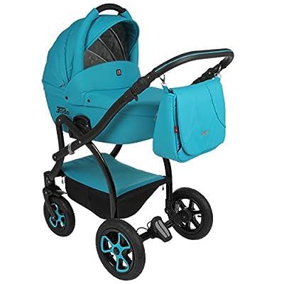 True Love Trido cuero ecología lógico 3 in 1 Cochecito Combinado (asiento del coche incluye adaptadores, cubierta para la lluvia, mosquitero, ruedas giratorias de 05 colores)