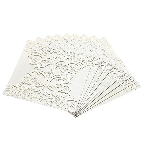 ponatia 25Pack Set Laser-Cut Einladung Karten, Spitze Einladung Kit für Hochzeit Jahrestag Brautschmuck Dusche Geburtstag mit bedruckbar Papier und Umschläge beige