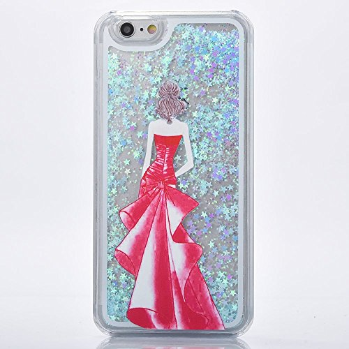 iPhone 6S Bling Coque,iPhone 6 Glitter Coque,iPhone 6S Case,iPhone 6 Case,iPhone 6S Dual Layer Plastic Coque Liquide Cases Covers,EMAXELERS 3D unique Brillant Bling Glitter Cristal Quicksand Transpare Dress Girl 5