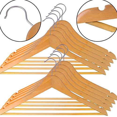 Torten Trends Kleiderbügel aus Holz, 100 STK Holzbügel Garderobenbügel mit Hosenstange Natur (Holz-stücke)