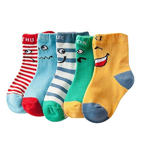 Aisi 5 Paar Unisex Kinder Socken mit Cartoon Motiv (5-er Pack) Sockenset für Mädchen und Jungen 1-3 Jahre alt