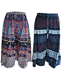 Amber Women's Cotton Printed Palazzo Blue - Pack Of 2