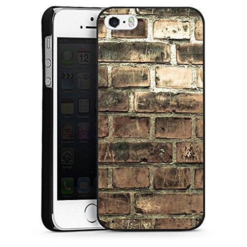 Apple iPhone 5s Housse Étui Protection Coque Pierres Paroi en pierres Brique CasDur noir