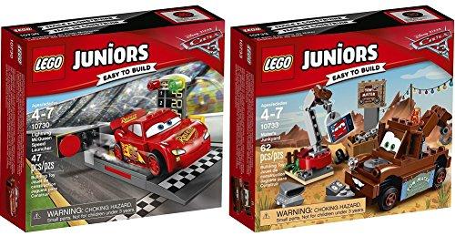 LEGO Juniors Disney Cars 2er Set 10730 10733 Lightning McQueens Beschleunigungsrampe + Hooks Schrottplatz (Cars Lego-sets Disney)