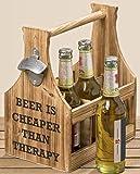 Holz Flaschenkorb 'Bier' mit Flaschenöffner, 2 Modelle, Modell:Beer Therapy