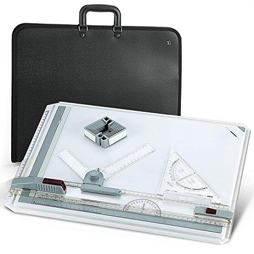 Efantur Zeichenbrett A3, Zeichenplatte A3 Set Zeichentisch mit Parallel-Zeichenschiene Doppelnutführung einstellbar Winkel - Zeichenplatten Set inkl. Tragetasche mit Griff verstellbarer Schultergurt