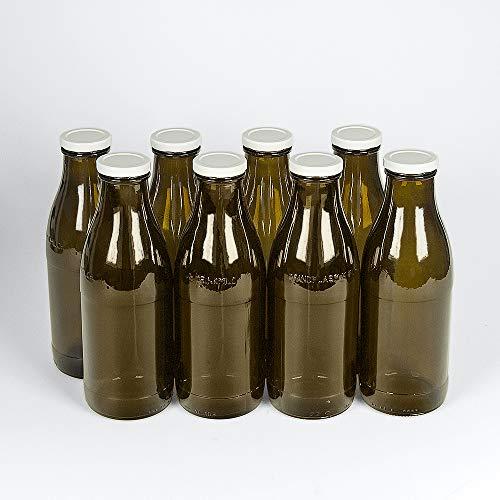 8 Milchflaschen 1 Liter mit Twist-Off-Schraubdeckeln in braun - Weithalsflaschen mit 1000 ml Volumen - geeignet als Saftflaschen, Smoothieflaschen und Milchflaschen von Hartmut Bauer e.K.