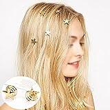 Bigboba 5pcs simple étoile dorée Pince à cheveux Griffe spirale Pique à cheveux Colliers de serrage Coiffe Chaîne Bijoux Coiffure Accessoires Cheveux Ornements Décoration