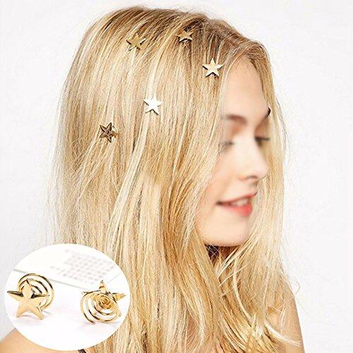Bigboba 5 pcs simple étoile dorée Pince à cheveux Griffe spirale Pique à cheveux Colliers de serrage Coiffe Chaîne Bijoux Coiffure Accessoires Cheveux Ornements Décoration
