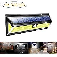 إضاءة استشعار الحركة الشمسية في الهواء الطلق، مصابيح حائط كشف الحركة بإضاءة LED من 164 COB، إضاءة أمان تعمل بالطاقة الشمسية للأريكة، الحديقة، المرأب، البول، الفناء (أبيض فاتح)