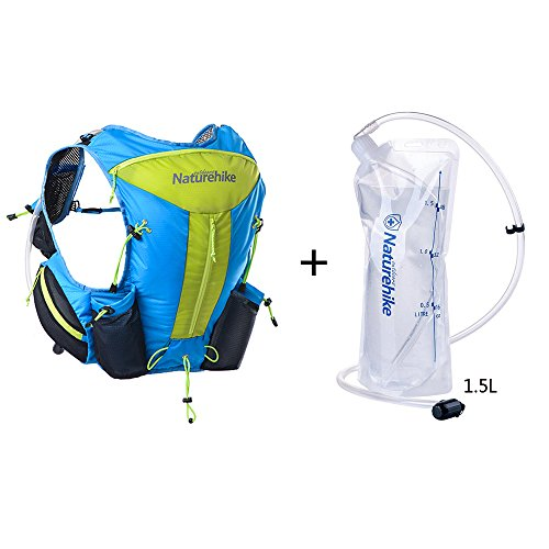 Naturhike leichte Damen Herren Marathon Rucksack Wandern Taktische Packs Laufende Tasche Running Bag 12L Blue+1.5L water bag