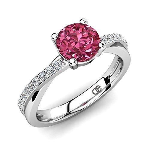 Moncoeur Verlobungsring Douceur Pink Turmalin + 925 Sterling Silber Verlobungsringe mit Pink Turmalin Hauptstein + Swarovski Silberring Damen Ring + Frauen Geschenk...