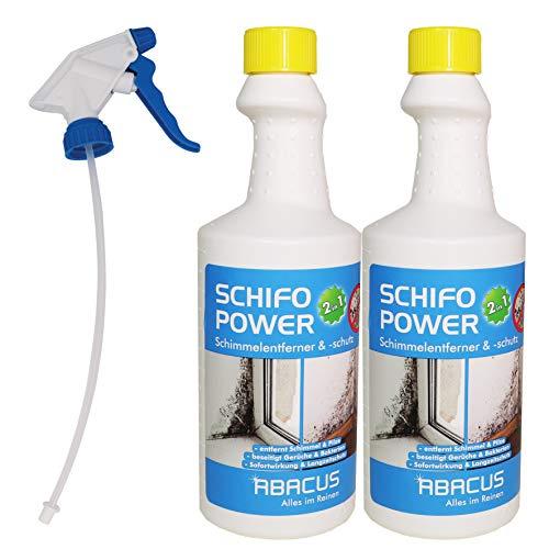 SCHIFO POWER 2in1-2x 750 ml SCHIFO POWER 2in1 + 1x Sprühkopf MAXI - blau - Schimmelstopp Antischimmel Schimmelmittel Pilzentferner Anti-Mold Schimmelentferner Schimmelschutz