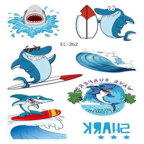 adgkitb Ocean Party Shark Tattoo Aufkleber Animal Shark Pirate Cute Fun Child Tattoo Aufkleber 15 12x7.5cm (Fun Kids Ga)