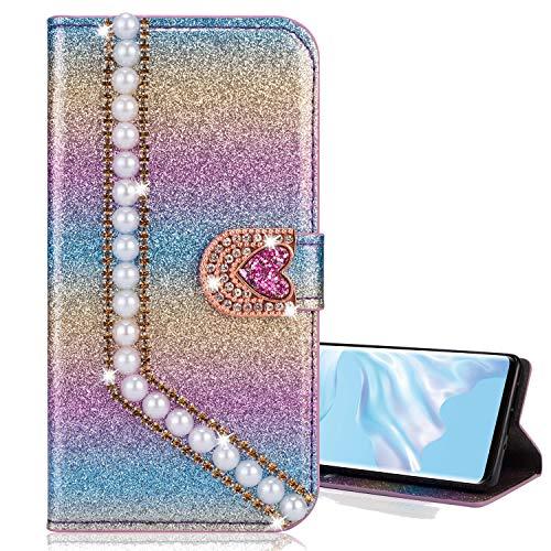 Preisvergleich Produktbild Nadoli Leder Hülle für Galaxy S9, Luxus Bling Glitzer Diamant 3D Handyhülle im Brieftasche-Stil Perle Herz Flip Schutzhülle Etui für Samsung Galaxy S9, Lila