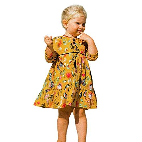 Gelbes Langarm-strampelanzug (Pageantry Kleid Baby Mädchen Langarm Druck Partykleid Prinzessin Blumen Outfits Kleidung Sommer Locker Bunte Kleid Niedlich Sport Kleinkind Blusen Baumwolle Süße Dress)