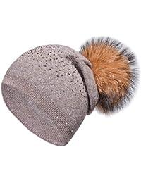Guoyy Femmes Hiver Cachemire côtelé tricoté Chapeau Bonnet Strass  Embellissement détachable Peluche Pompon Balle dcbad0c7613