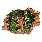 nikima - 030 Wandtattoo Tiger im Dschungel - Loch in der Wand - Sticker Aufkleber Ziegel Durchbruch - in 6 Größen - Kinderzimmer Jugendzimmer Sticker zum aufkleben coole Wanddeko Wandbild Junge Mädchen Größe 750 x 520 mm