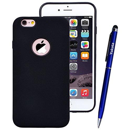 Yokata Cover per iPhone 6S Plus / 6 Plus Custodia per iPhone 6S Plus / 6 Plus gel Silicone Case Durevole TPU Backcover Protettiva Caso Premium Ultra Sottile Bumper Antiurto Protezione Shell + Penna -  Nero