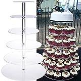 Qulista 6 stöckige Etagere Tortenständer Hochzeit Geburtstag Party stabil, Hochzeitstorte Tortenständer Etagere aus glasklarem Acryl (6 stöckig)