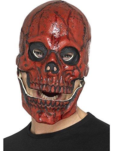 Smiffys Herren Blutiger Totenkopf Maske mit beweglichem Kiefer, Ganzer Kopf, One Size, Rot, 48113