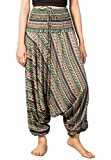Lofbaz Mujeres Cachemir Impreso Smocked Cintura Mono Pantalones Verde XL